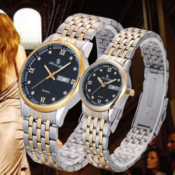 1Pair Couples Crystal Watch - Stainless Steel Band
