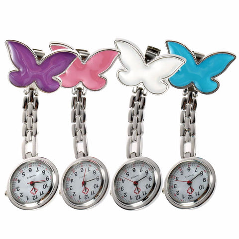 Medical / Nurse Fob Watch  4 Colors Clip-on Pendant - Hanging Pocket - Quartz Butterfly Shape
