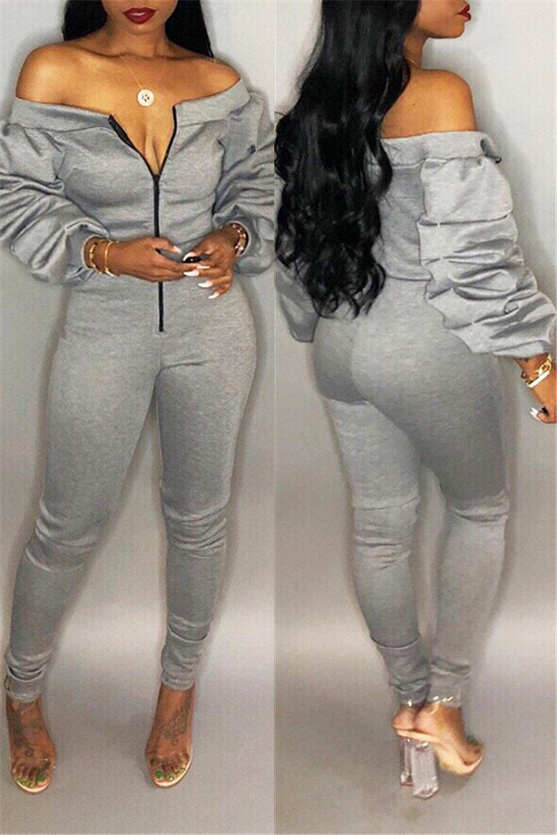 Off Shoulder Heap Sleeve Jumpsuit
