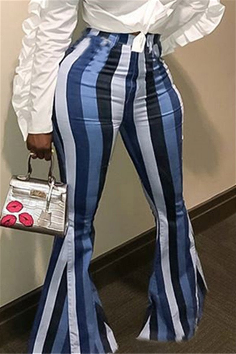 Casual Plus Size Striped Pants - outyfit