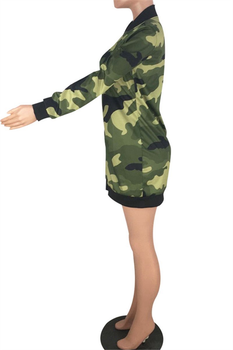 Camo Printed Zipper Dress - outyfit