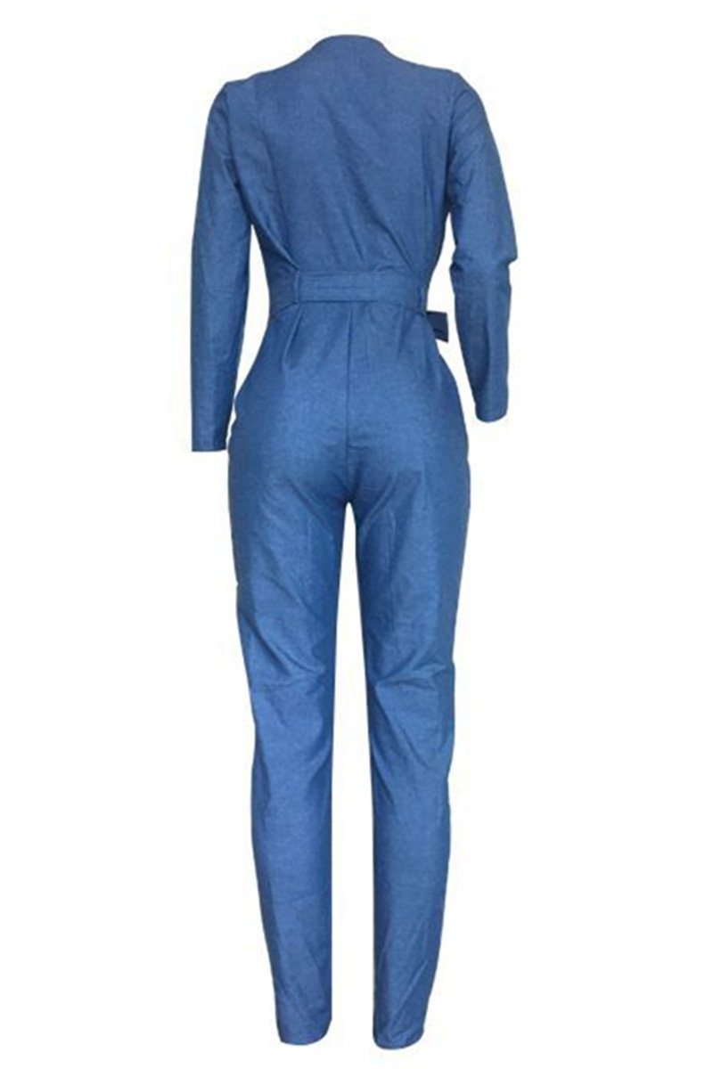 Casual Denim Jumpsuit With Belt - outyfit
