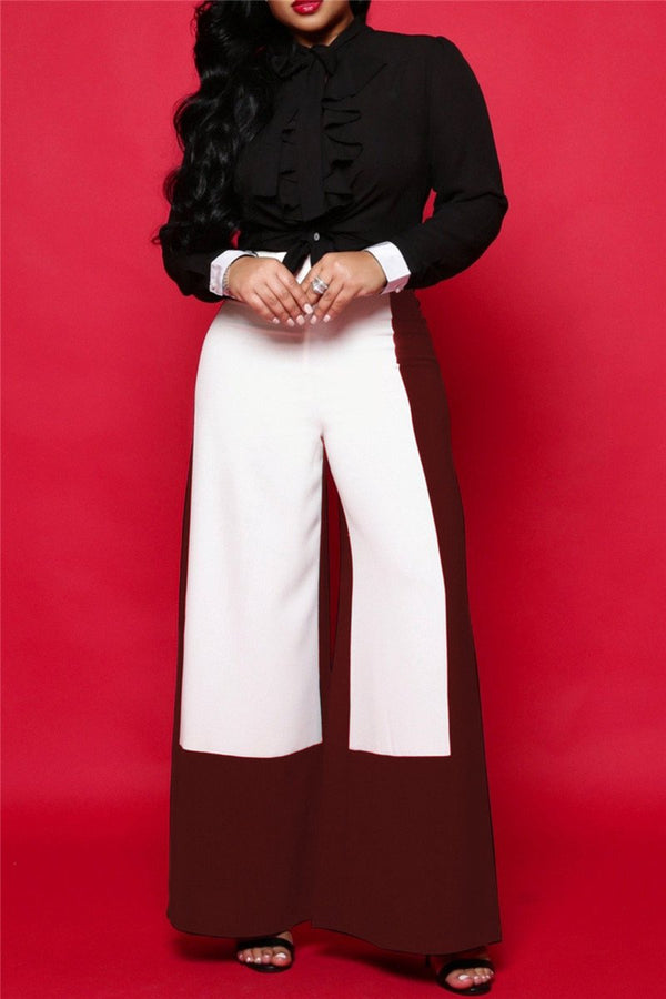 Color Splicing Wide Leg Pants - outyfit