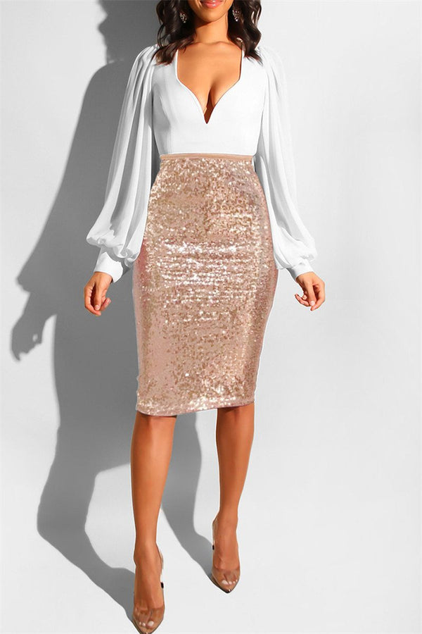 Shining Sequins Skirt With Lining