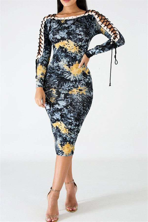Printed Bandage Sleeve Midi Dress
