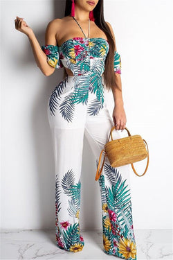 Floral Printed Halted Hollow Out Jumpsuit - outyfit