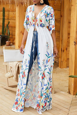 Floral Printed Wrap Cover Up - outyfit