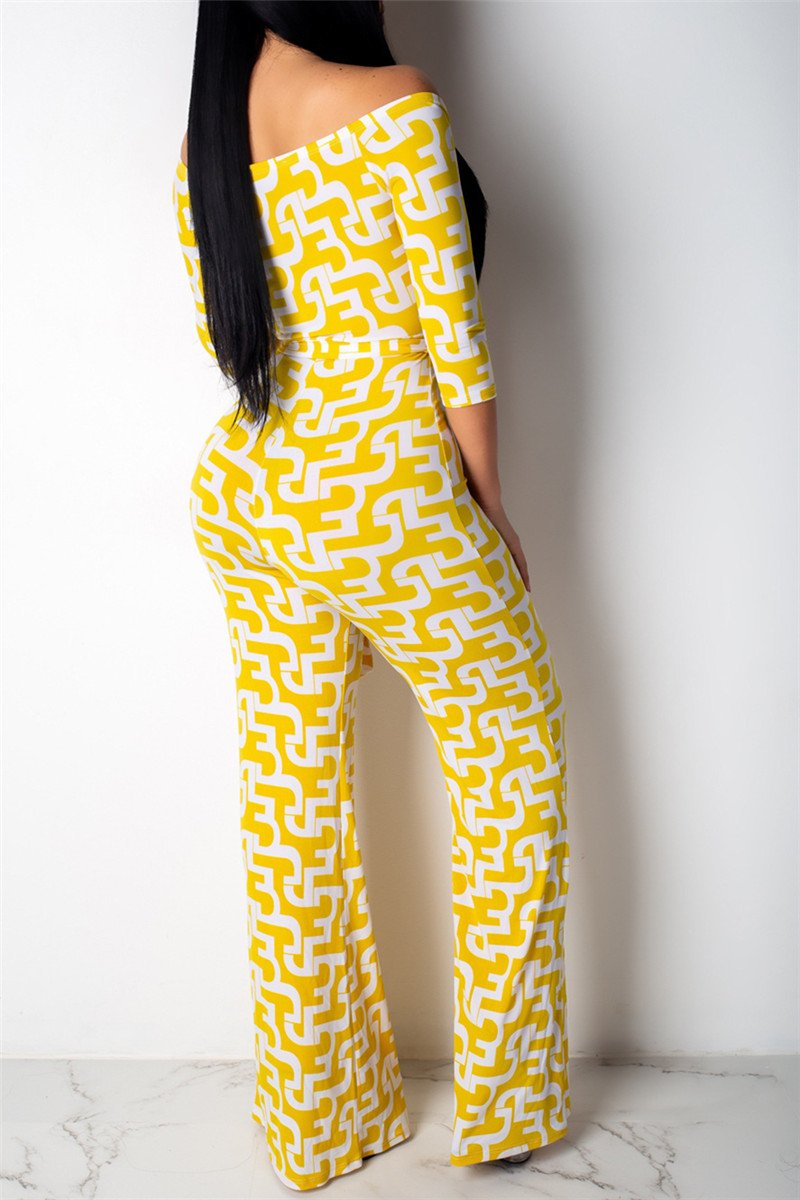 Geometric Printed Jumpsuit With Belt