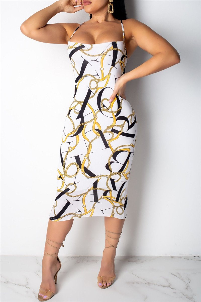Chain Printed Cami Midi Dress - outyfit