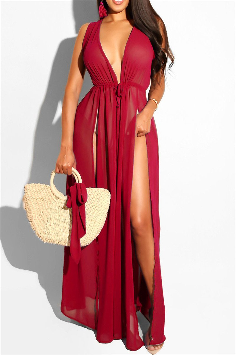 Solid Color Split Chiffon Beach Cover Up