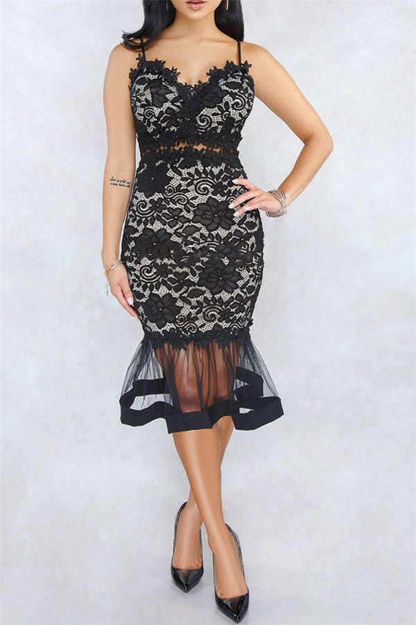 Lace Net Yarn Splicing Fishtail Midi Dress