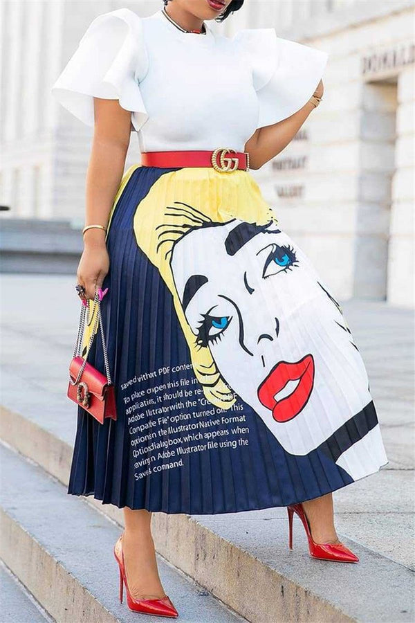Cartoon Printed Pleated Skirt - outyfit