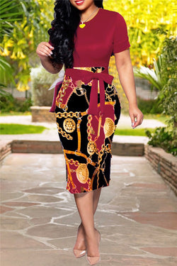 Chain Printed Midi Dress With Belt - outyfit