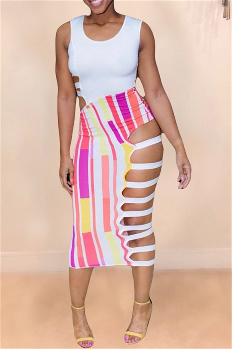 Hollow Out Striped Splicing Dress
