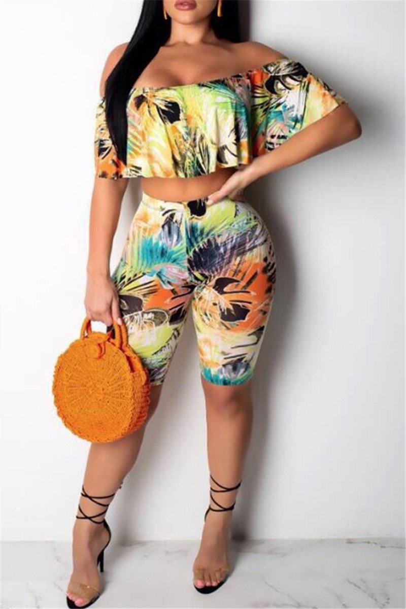 Printed Off Shoulder Top & Shorts Sets