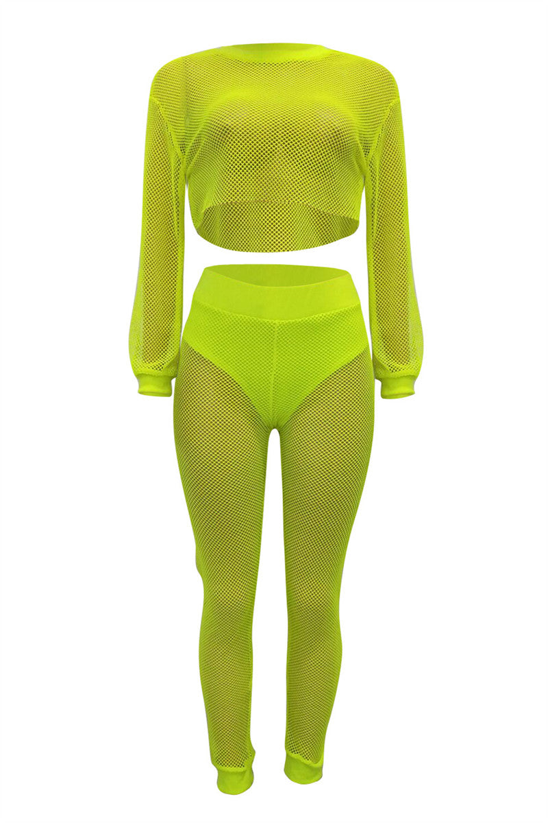 Mesh Top & Pants Sets With Underpants