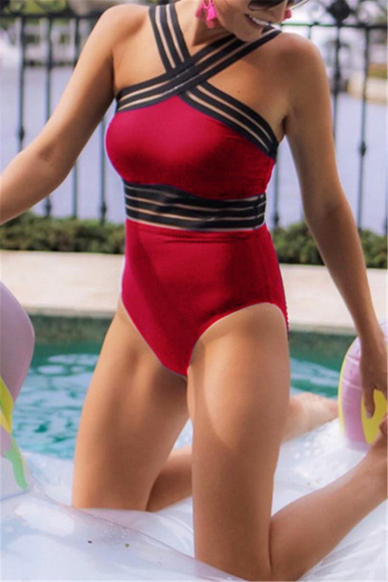 Hollow Out Striped Bandage Swimsuit
