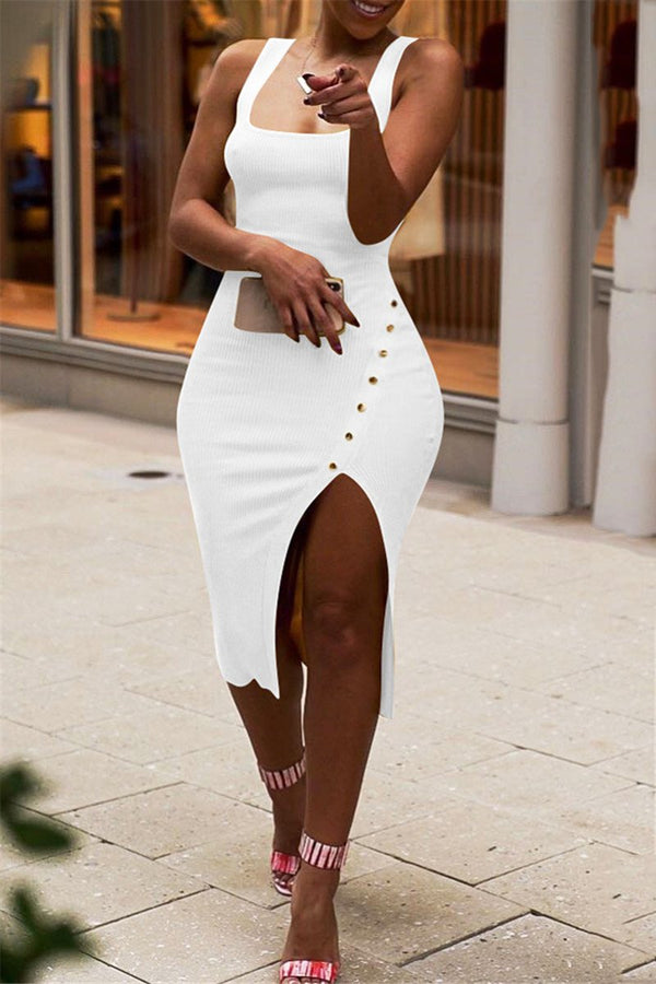 Solid Color Split Cami Dress