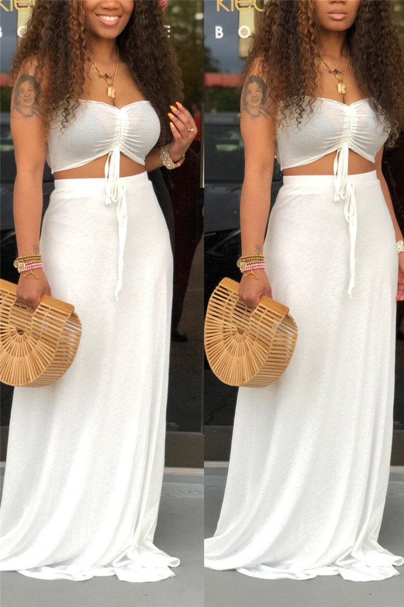 Solid Color Tube Top & Skirt Sets