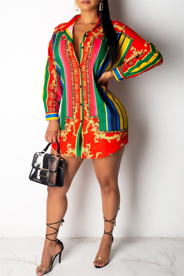 Casual Printed Shirt Dress - outyfit