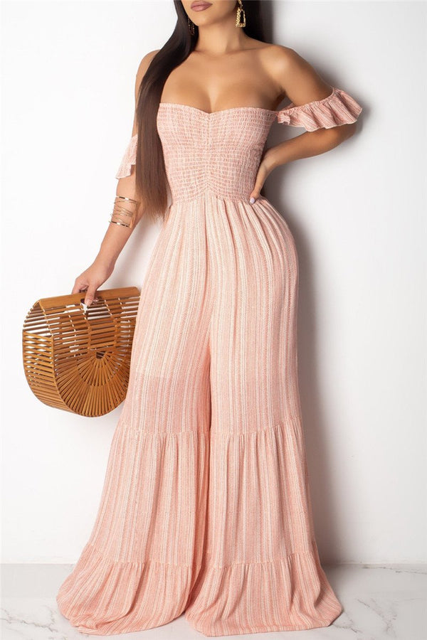 Striped Smocked Wide Leg Jumpsuit