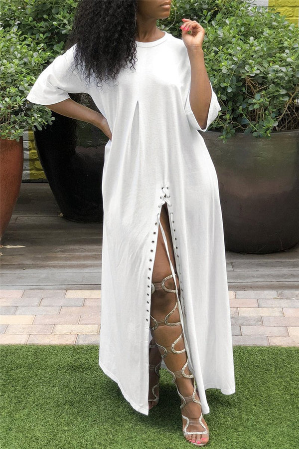 Casual High Split Bandage Maxi Dress - outyfit