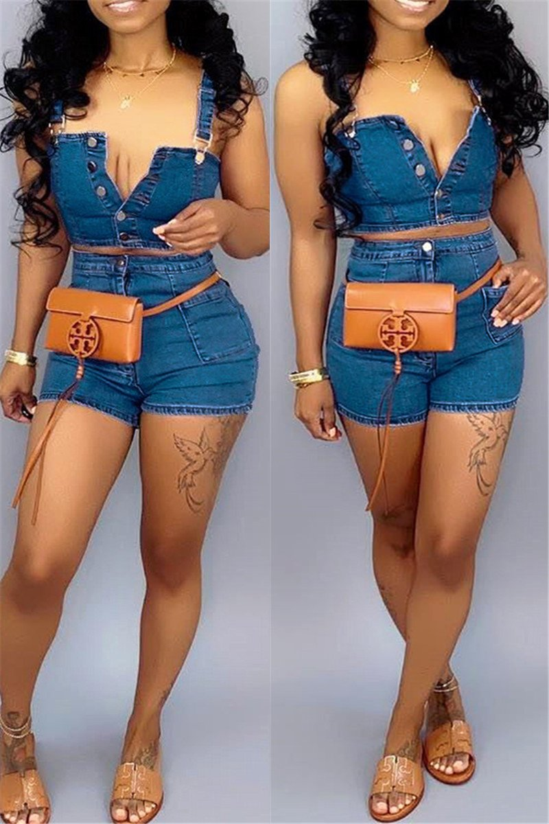 Plus Size Denim Cami Top & Shorts Sets