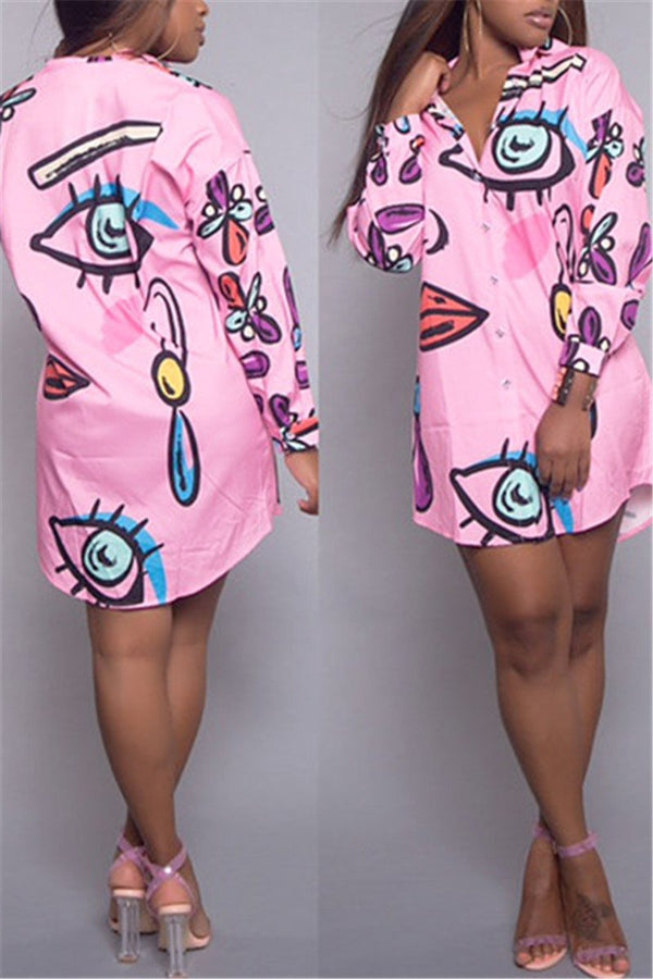 Lips & Eye Print Shirt Dress