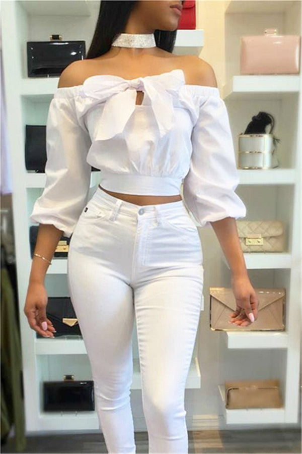 White Off Shoulder Bow Blouse