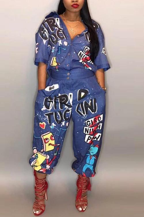 Plus Size Letter Printed Jumpsuit