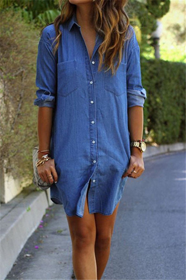 Denim Shirt Dress - outyfit