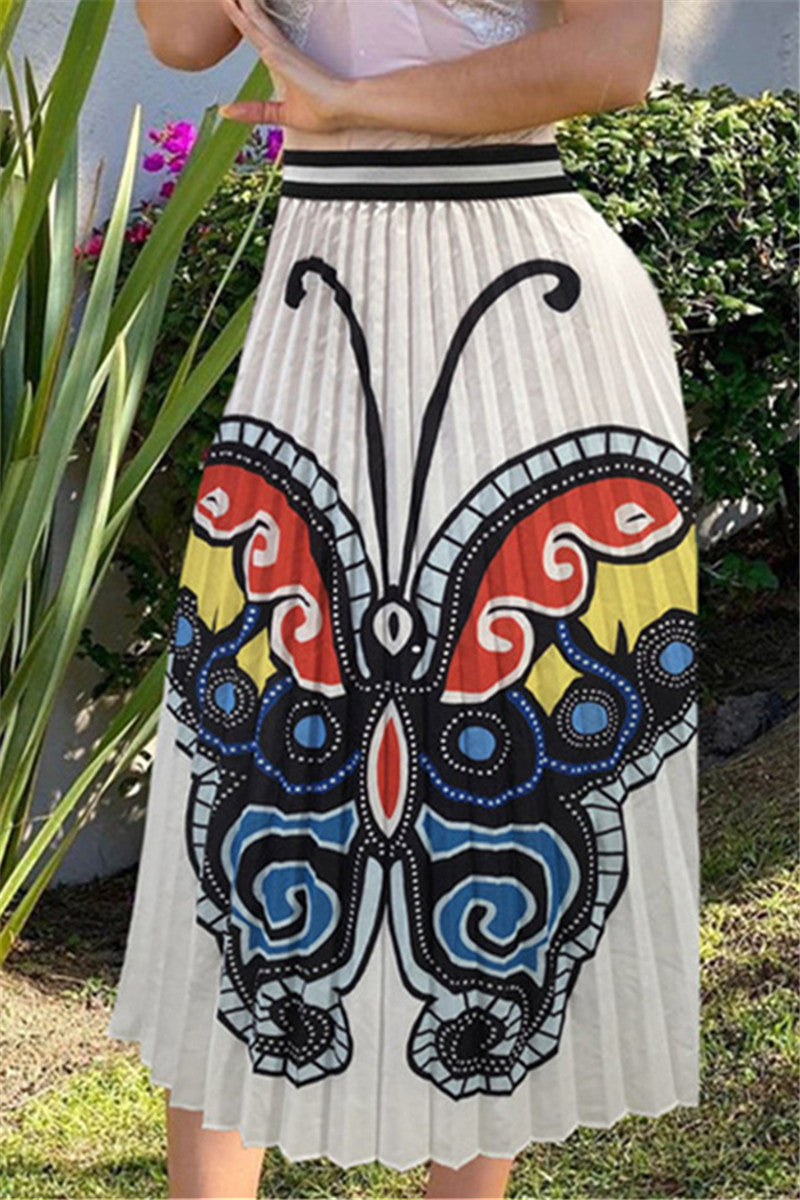Butterfly Printed Pleated Skirt