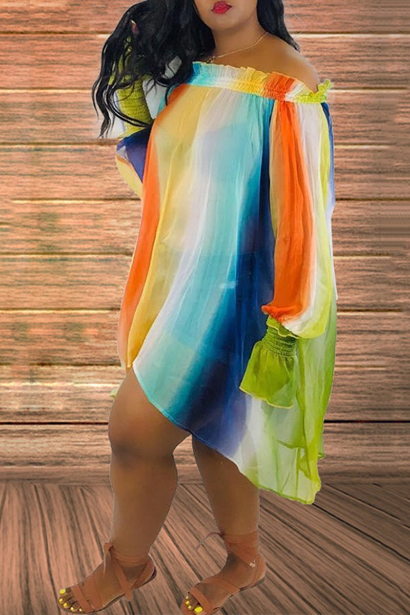 Plus Size Irregular Hem Chiffon Dress