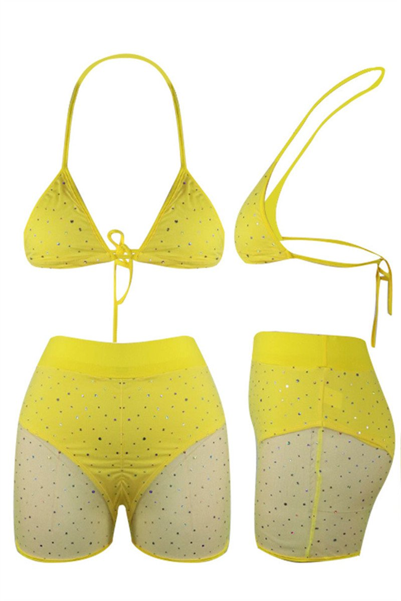 Sequins Net Yarn Splicing Swimwear Sets