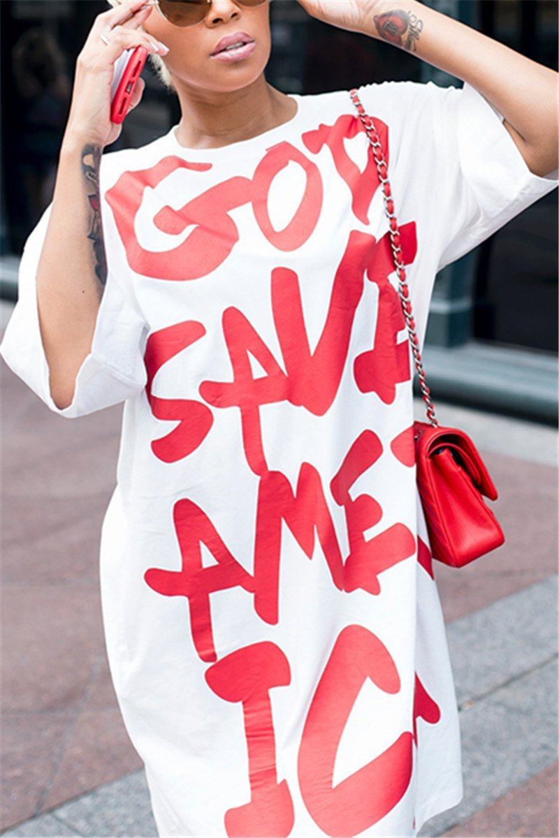 Red & White T-Shirt America Dress