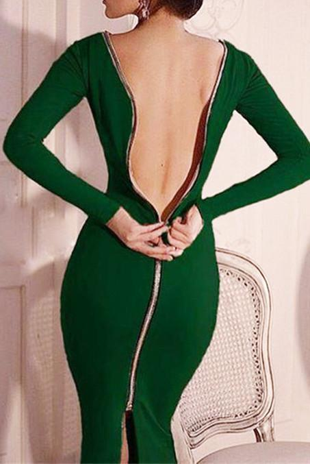 Adjustable Zipper Back Sexy Dress - outyfit
