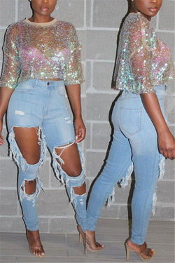 Shining Sequin Splicing Top