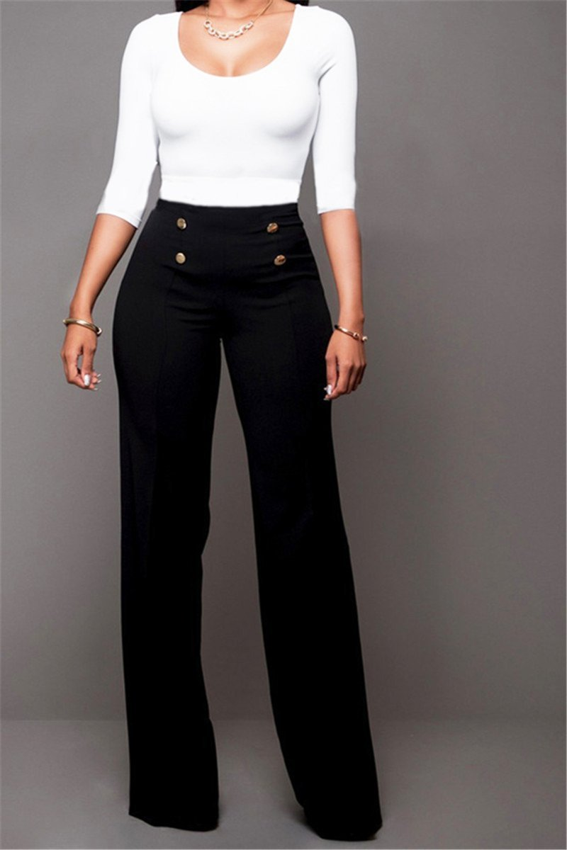 High Waist Button Front Pants - outyfit