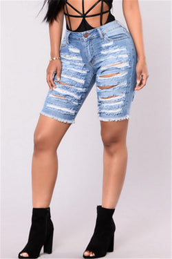 Distressed Frayed Denim Shorts - outyfit