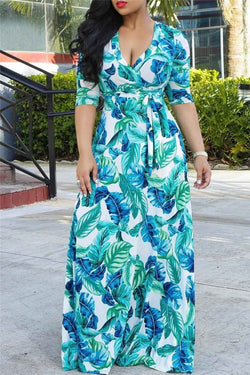 Aqua Green Leaf Print Maxi Dress - outyfit