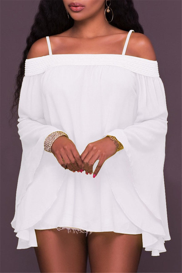 Chiffon Cold Shoulder Top - outyfit