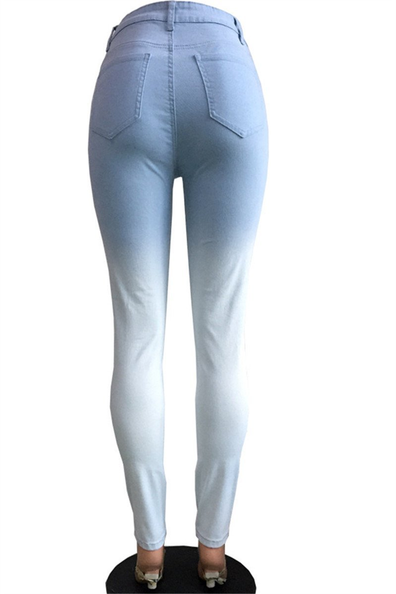Blue-White Fade Skinny Jeans - outyfit