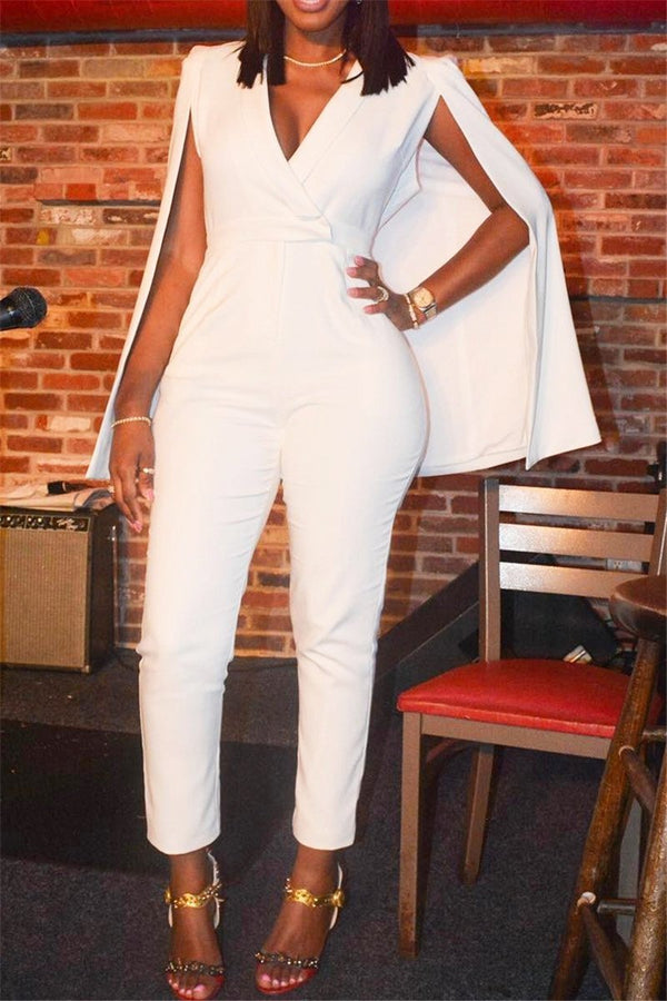 White Cape Jumpsuit
