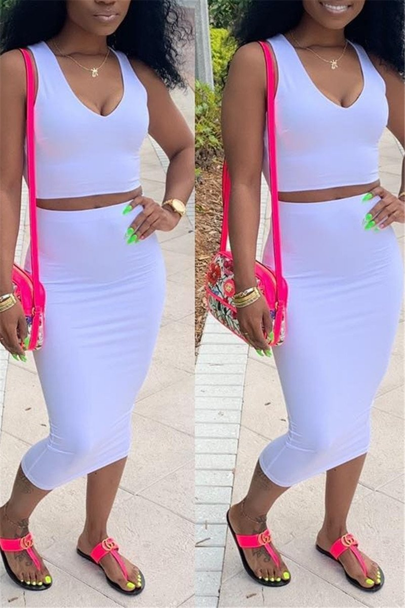 Solid Color Top & Skirt Sets