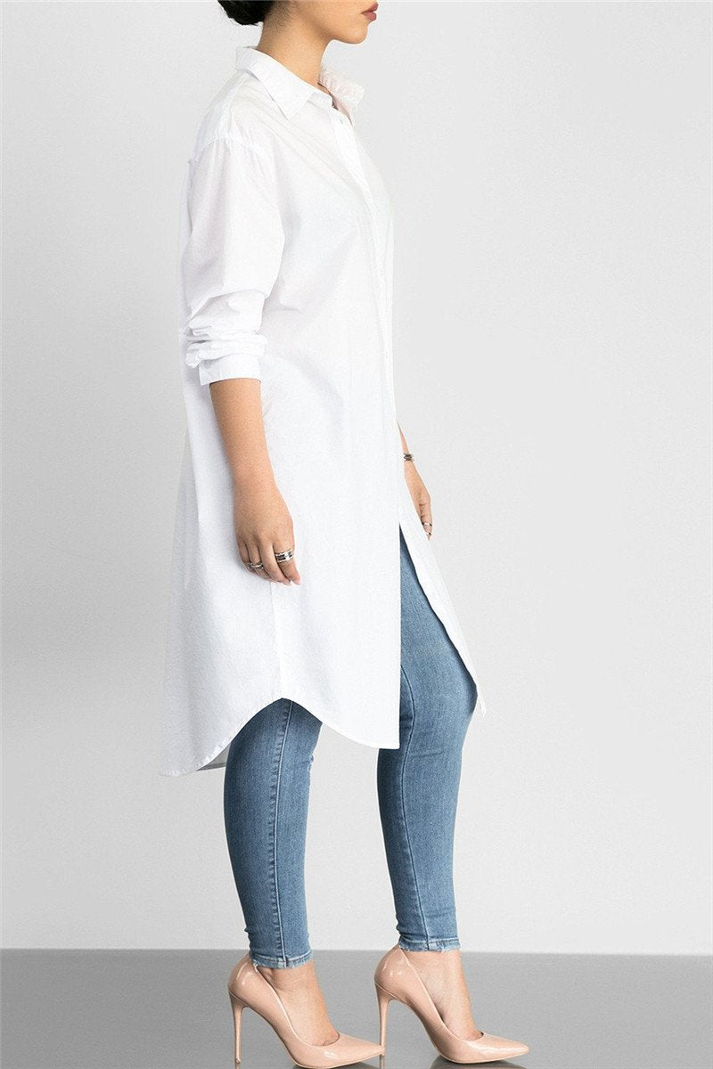 Solid Color Shirt Dress