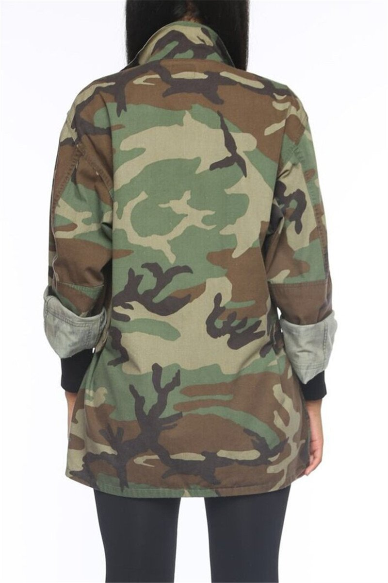 Camo Printed Plus Size Coat - outyfit