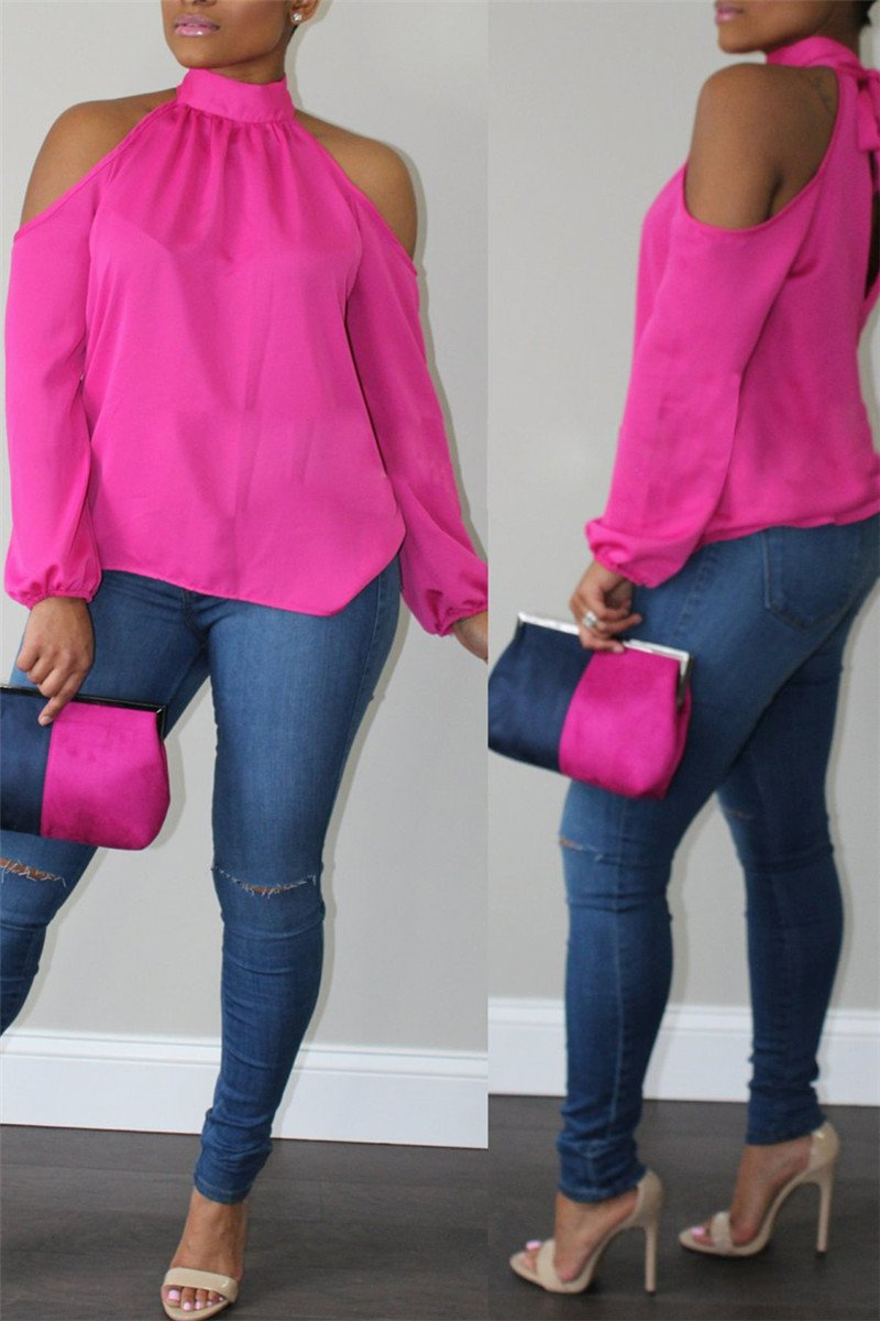 Cold Shoulder Bandage Neck Shirt - outyfit