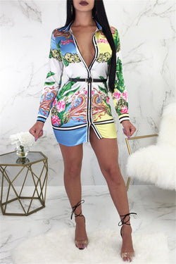Plus Size Printed Shirt Dress