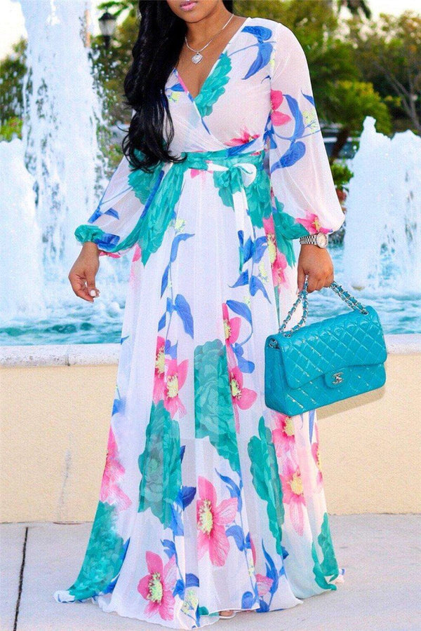 Printed Chiffon Belted Maxi Dress