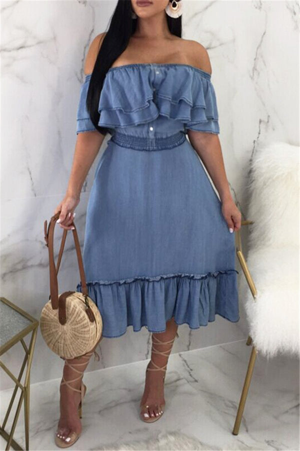 Off Shoulder Denim Midi Dress